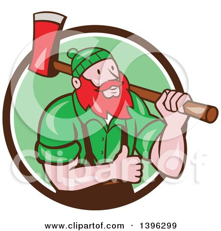 Clipart Of A Cartoon Red Haired Lumberjack Paul Bunyan Carrying An Axe And Giving A Thumb Up Emerging From A Brown White And Green Circle Royalty Free Vector Illustration