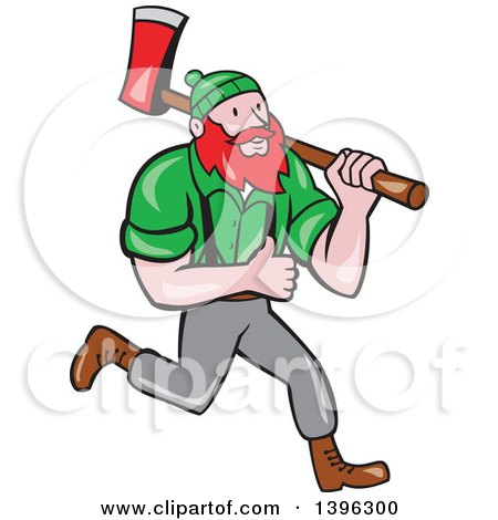 Clipart of a Cartoon Red Haired Lumberjack, Paul Bunyan, Carrying an Axe and Giving a Thumb up - Royalty Free Vector Illustration by patrimonio