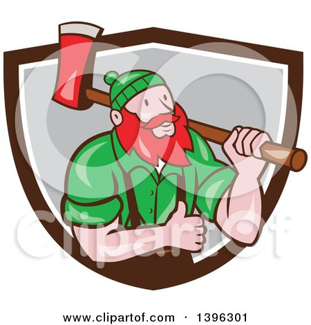 Clipart of a Cartoon Red Haired Lumberjack, Paul Bunyan, Carrying an Axe and Giving a Thumb Up, Emerging from a Brown White and Gray Shield - Royalty Free Vector Illustration by patrimonio