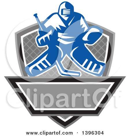 Clipart of a Retro Blue and White Ice Hockey Goalie over a Net, Shield and Banner - Royalty Free Vector Illustration by patrimonio