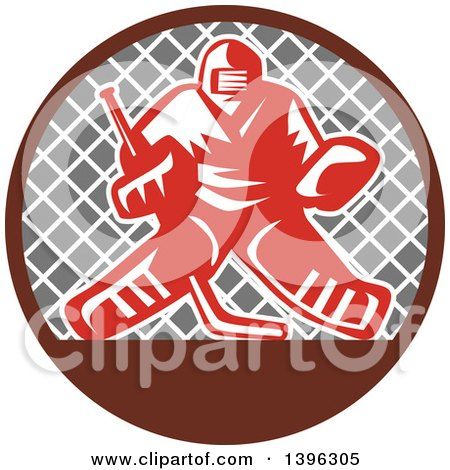 Clipart of a Retro Red and White Ice Hockey Goalie over a Net in a Brown and Gray Circle - Royalty Free Vector Illustration by patrimonio