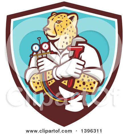 Clipart of a Cartoon Refrigeration and Air Conditioning Mechanic or Plumber Cheetah Holding a Pressure Temperature Gauge and Monkey Wrench in a Shield - Royalty Free Vector Illustration by patrimonio