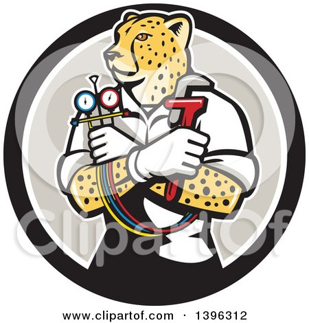 Clipart of a Cartoon Refrigeration and Air Conditioning Mechanic or Plumber Cheetah Holding a Pressure Temperature Gauge and Monkey Wrench in a Black White and Taupe Circle - Royalty Free Vector Illustration by patrimonio