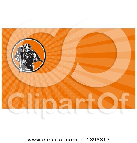 Clipart of a Retro Woodcut Fireman Carrying a Woman and Orange Rays Background or Business Card Design - Royalty Free Illustration by patrimonio