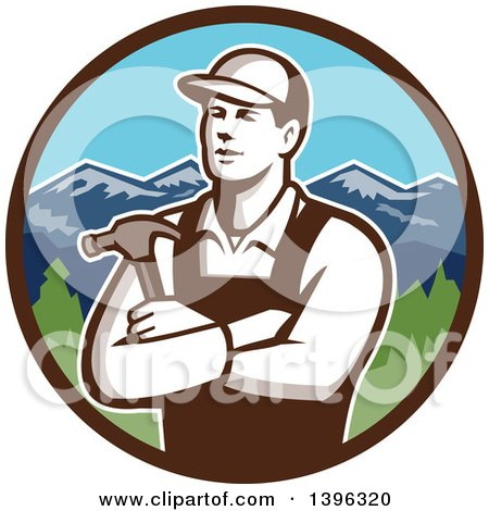 Clipart of a Retro Male Carpenter with Folded Arms, Holding a Hammer in a Circle of Mountains - Royalty Free Vector Illustration by patrimonio