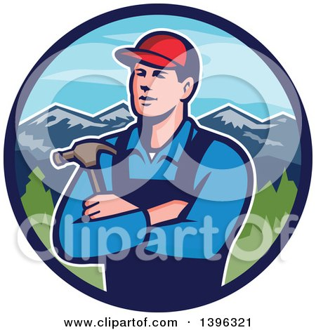 Retro Male Caucasian Carpenter with Folded Arms, Holding a Hammer in a Circle of Mountains Posters, Art Prints