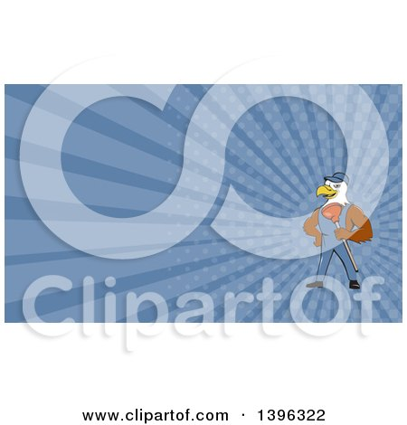 Clipart of a Cartoon Bald Eagle Plumber Man Holding a Plunger and Blue Rays Background or Business Card Design - Royalty Free Illustration by patrimonio