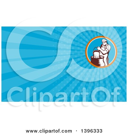 Clipart of a Retro Male Cheesemaker Pouring a Bucket of Curd and Whey into a Vat and Blue Rays Background or Business Card Design - Royalty Free Illustration by patrimonio