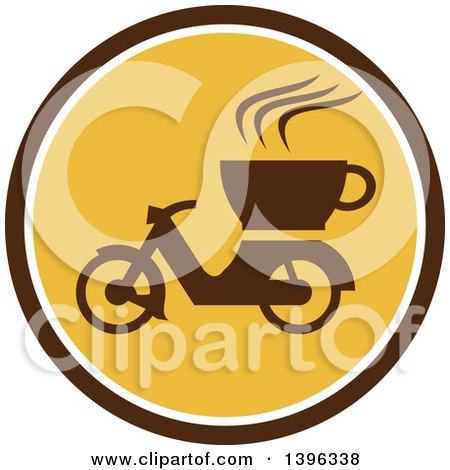 Clipart of a Retro Coffee Moped in a Brown White and Yellow Circle - Royalty Free Vector Illustration by patrimonio