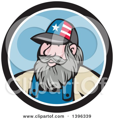 Clipart Of A Cartoon Chubby White Male Hillbilly Wearing A Patriotic Hat In A Black White And Blue Circle Royalty Free Vector Illustration