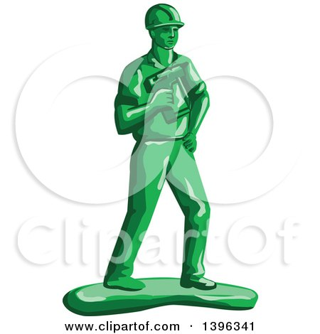 Retro Green Toy Construction Worker Holding a Nail Gun Posters, Art Prints