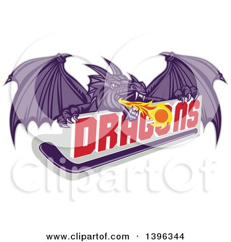 Clipart of a Retro Purple Fire Breathing Dragon and a Ball over Text and Hockey Stick - Royalty Free Vector Illustration by patrimonio