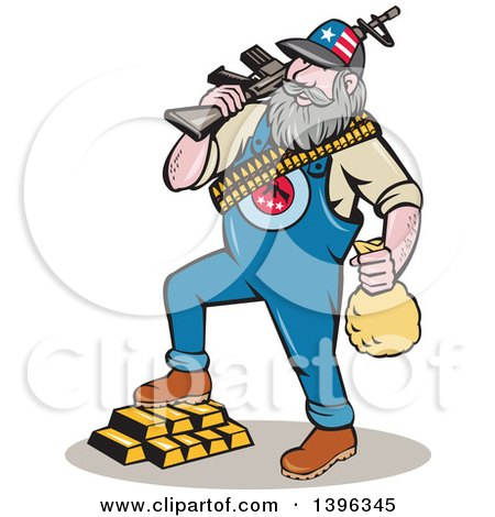 Clipart of a Cartoon Chubby White Male Hillbilly Wearing a Patriotic Hat, Holding a Rifle and Money Bag, Stepping on Gold Bars - Royalty Free Vector Illustration by patrimonio