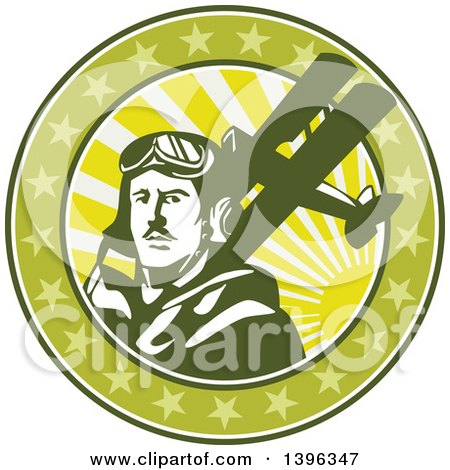 Clipart of a Retro World War One Male Pilot Aviator and Spad Biplane, on a Green Cricle with Stars and Sunshine - Royalty Free Vector Illustration by patrimonio