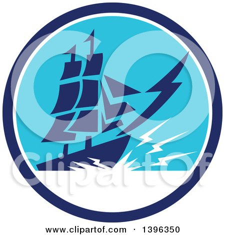 Clipart of a Retro Galleon Ship with Lightning in a Blue and White Circle - Royalty Free Vector Illustration by patrimonio