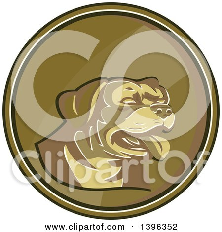 Clipart of a Retro Gold Medallion of a Rottweiler Dog - Royalty Free Vector Illustration by patrimonio