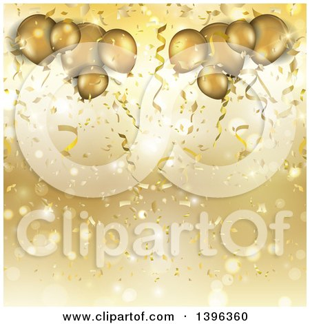Clipart of a Background of Confetti, Flares and 3d Golden Party Balloons - Royalty Free Illustration by KJ Pargeter