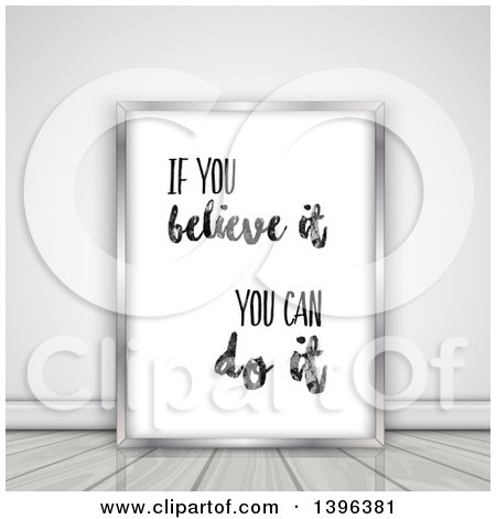 Clipart of a if You Believe It, You Can Do It Quote in a Frame, Leaning Against a Wall on the Floor - Royalty Free Illustration by KJ Pargeter