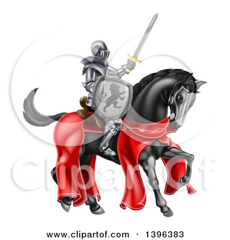 Clipart of a 3d Full Armored Medieval Knight on a Black Horse, Holding a Sword and Shield - Royalty Free Vector Illustration by AtStockIllustration