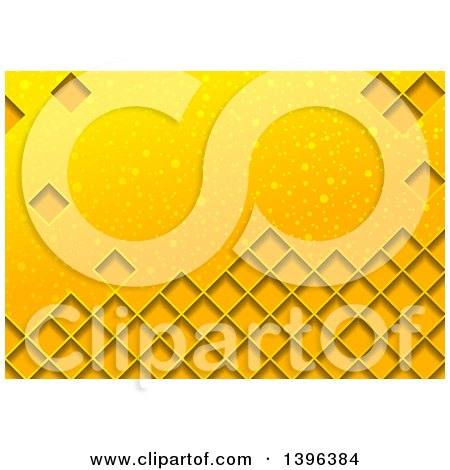 Clipart of a Background of Diamonds on Yellow with Bubbles - Royalty Free Vector Illustration by dero