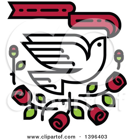 Clipart of a White Dove Flying with Red Roses and a Banner - Royalty Free Vector Illustration by elena