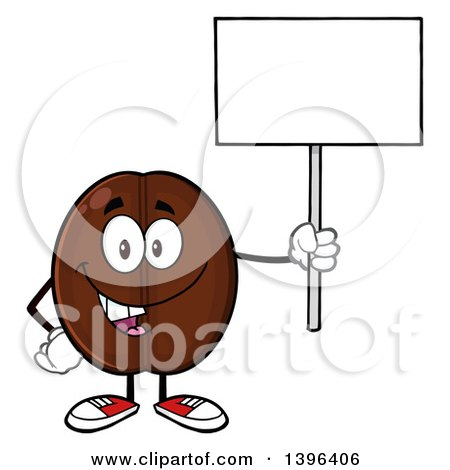 Clipart of a Cartoon Coffee Bean Mascot Character Holding up a Blank Sign - Royalty Free Vector Illustration by Hit Toon