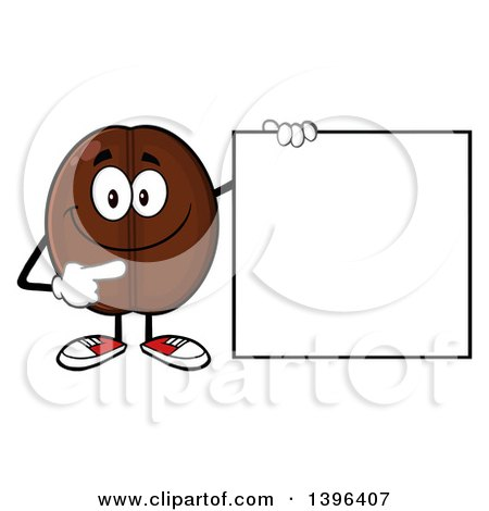 Clipart of a Cartoon Coffee Bean Mascot Character Pointing to a Blank Sign - Royalty Free Vector Illustration by Hit Toon