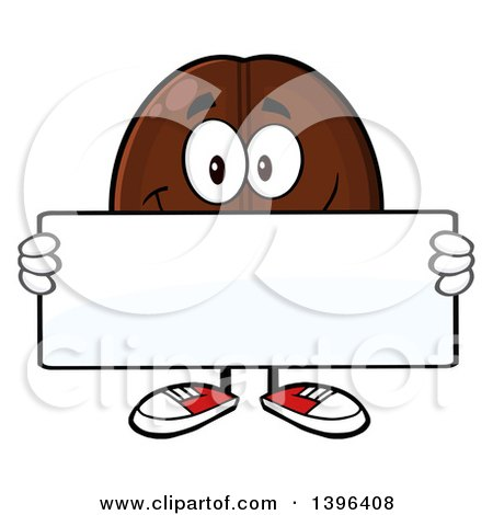 Clipart of a Cartoon Coffee Bean Mascot Character Holding a Blank Sign - Royalty Free Vector Illustration by Hit Toon