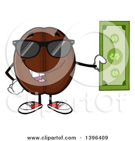 Clipart of a Cartoon Coffee Bean Mascot Character Wearing Sunglasses and Holding Cash - Royalty Free Vector Illustration by Hit Toon