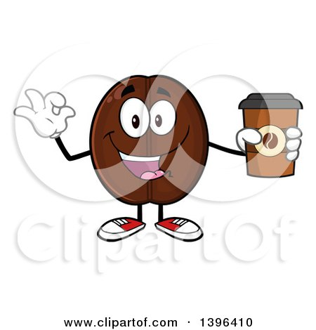 Clipart of a Cartoon Coffee Bean Mascot Character Holding a Take out Cup and Gesturing Ok - Royalty Free Vector Illustration by Hit Toon