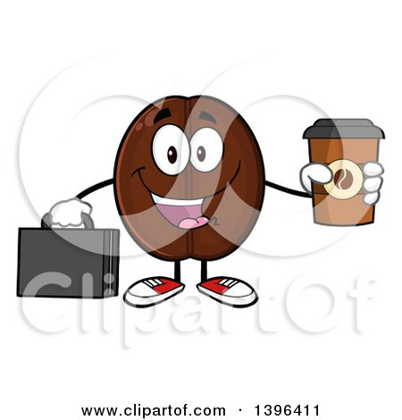 Clipart of a Cartoon Coffee Bean Mascot Character Holding a Briefcase and a Take out Cup - Royalty Free Vector Illustration by Hit Toon