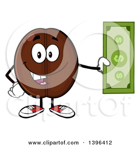 Clipart of a Cartoon Coffee Bean Mascot Character Holding Cash - Royalty Free Vector Illustration by Hit Toon