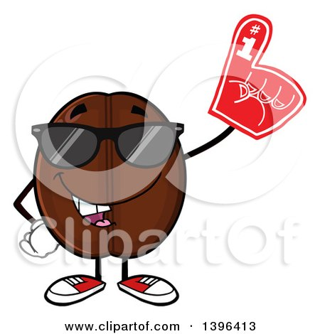 Clipart of a Cartoon Coffee Bean Mascot Character Wearing Sunglasses and a Foam Finger - Royalty Free Vector Illustration by Hit Toon