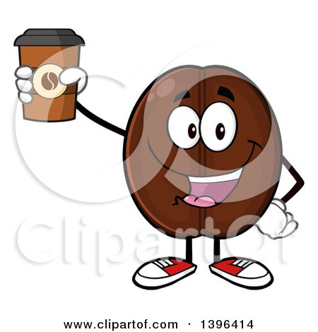 Clipart of a Cartoon Coffee Bean Mascot Character Holding up a Take out Cup - Royalty Free Vector Illustration by Hit Toon