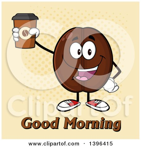 Clipart of a Cartoon Coffee Bean Mascot Character Holding up a Take out Cup over Halftone - Royalty Free Vector Illustration by Hit Toon