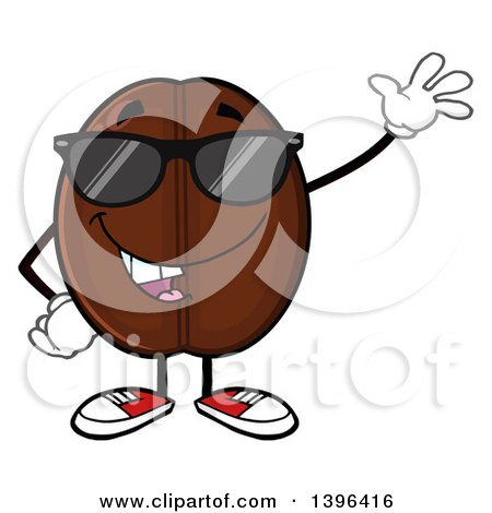 Clipart of a Cartoon Coffee Bean Mascot Character Wearing Sunglasses and Waving - Royalty Free Vector Illustration by Hit Toon