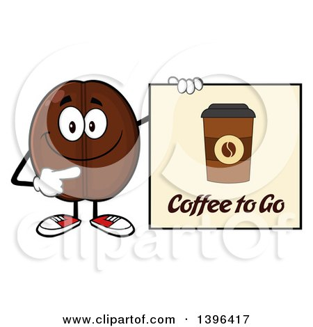 Clipart of a Cartoon Coffee Bean Mascot Character Holding a to Go Sign - Royalty Free Vector Illustration by Hit Toon