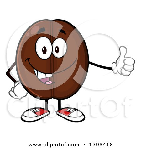 Clipart of a Cartoon Coffee Bean Mascot Character Giving a Thumb up - Royalty Free Vector Illustration by Hit Toon