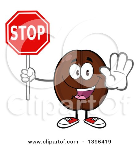 Clipart of a Cartoon Coffee Bean Mascot Character Holding out a Hand and Stop Sign - Royalty Free Vector Illustration by Hit Toon