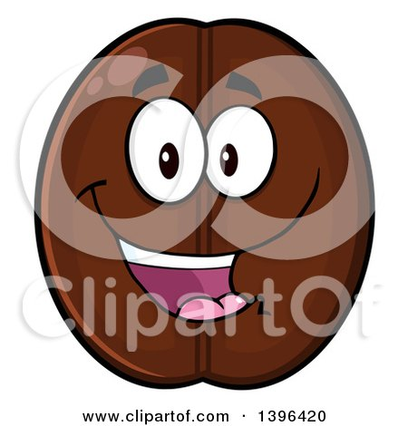 Clipart of a Cartoon Coffee Bean Mascot Character - Royalty Free Vector Illustration by Hit Toon