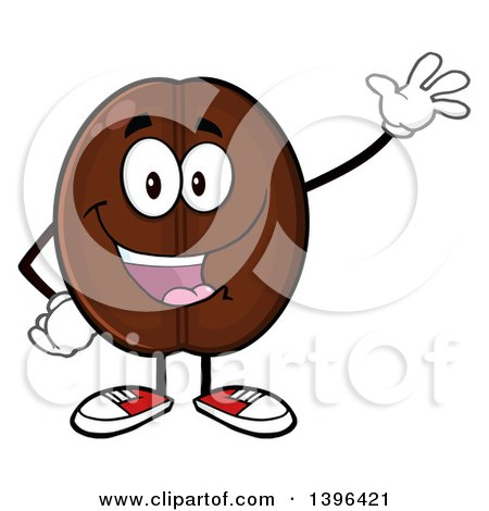 Clipart of a Cartoon Coffee Bean Mascot Character Waving - Royalty Free Vector Illustration by Hit Toon