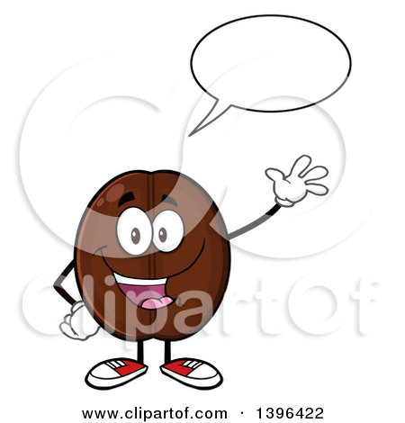 Clipart of a Cartoon Coffee Bean Mascot Character Waving and Talking - Royalty Free Vector Illustration by Hit Toon