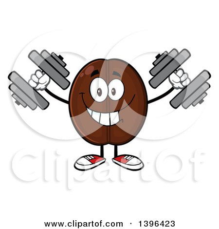 Clipart of a Cartoon Coffee Bean Mascot Character Working out with Dumbbells - Royalty Free Vector Illustration by Hit Toon