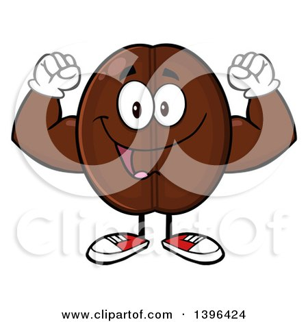Clipart of a Cartoon Coffee Bean Mascot Character Flexing His Muscles - Royalty Free Vector Illustration by Hit Toon