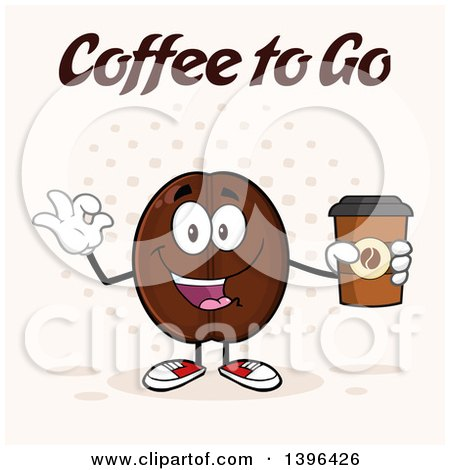 Clipart of a Cartoon Coffee Bean Mascot Character Holding a Take out Cup and Gesturing Ok over Halftone - Royalty Free Vector Illustration by Hit Toon