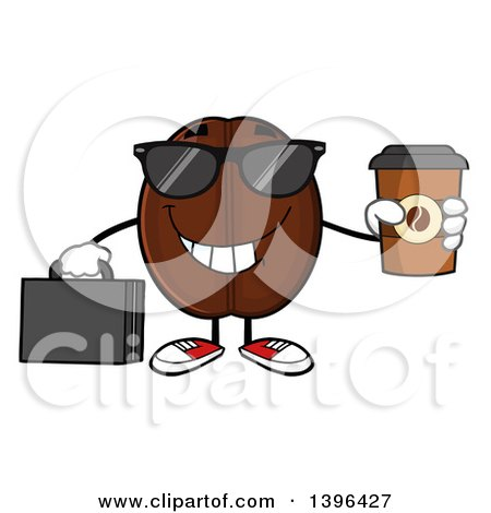 Clipart of a Cartoon Coffee Bean Mascot Character Wearing Sunglasses, Holding a Briefcase and a Take out Cup - Royalty Free Vector Illustration by Hit Toon