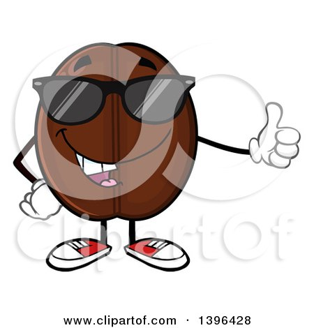 Clipart of a Cartoon Coffee Bean Mascot Character Wearing Sunglasses and Giving a Thumb up - Royalty Free Vector Illustration by Hit Toon