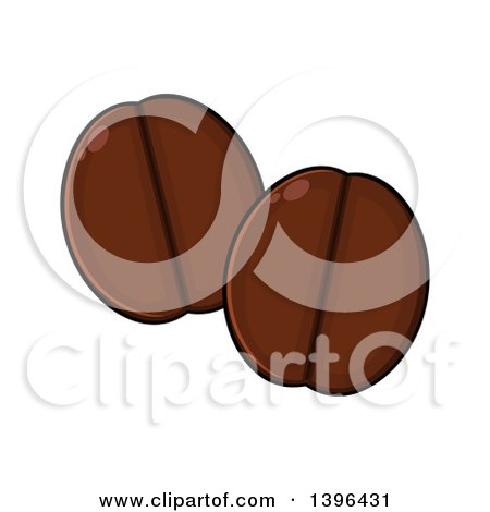 Clipart of Cartoon Coffee Beans - Royalty Free Vector Illustration by Hit Toon