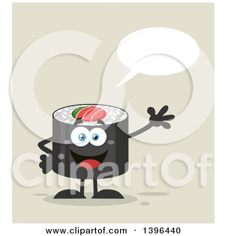 Clipart of a Flat Design Happy Sushi Roll Character Waving and Talking - Royalty Free Vector Illustration by Hit Toon