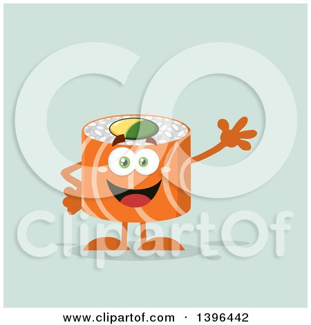 Clipart of a Flat Design Happy Salmon Sushi Roll Character Waving - Royalty Free Vector Illustration by Hit Toon
